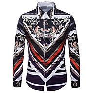 남성용 기하학 스프레드 카라 슬림 프린트 - 셔츠, 빈티지 퍼플 XL / 긴 소매