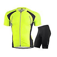 Χαμηλού Κόστους Nuckily®-Nuckily Ανδρικά Κοντομάνικο Φανέλα και σορτς ποδηλασίας - Λευκό Κόκκινο Πράσινο Μπλε Ποδήλατο Σετ Ρούχων, Αναπνέει, Αντανακλαστικές