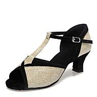 billige Kustomiserte dansesko-Latin Paljett Sandaler Tykk hæl Gull Sølv Mørkebrun Blå Kan spesialtilpasses