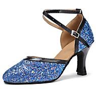 baratos Sapatilhas de Dança-Sapatos de Dança Moderna Paetês / Couro Sintético Sandália / Salto Laços Salto Personalizado Personalizável Sapatos de Dança Black / azul