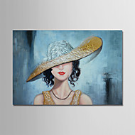 お買い得  人物画-手描きの 抽象画 人物 横式, コンテンポラリー 近代の キャンバス ハング塗装油絵 ホームデコレーション 1枚