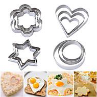 12pcs 4 oblik kolačića rezača postavljena okrugla cvjetna zvijezda srce iscuit pečat šećer craft plakati kolač plijesni