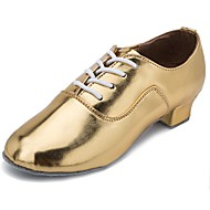 billige Moderne sko-Sko til latindans Lakklær Høye hæler Kubansk hæl Kan spesialtilpasses Dansesko Gull