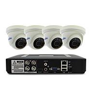 お買い得  DVRキット-4ch 1080n dvrキット4本1000tvlドームCCTVカメラセキュリティシステム屋内日夜のIRカット3.6mm