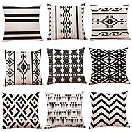 cheap Throw Pillows-9 pcs Linen Pillow Cover, Geometric Art Deco Plaid / Check