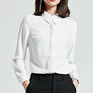 billige Topper til damer-Skjortekrage Skjorte - Ensfarget Dame