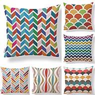 tanie Zestawy poduszki-6 szt Tekstylny Cotton / Linen Pokrywa Pillow, Prążki Geometryczny Art Deco