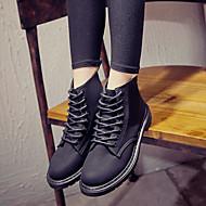 baratos Sapatos Femininos-Mulheres Sapatos Couro Ecológico Outono / Inverno Conforto Botas Salto Baixo Dedo Fechado Botas Curtas / Ankle Preto