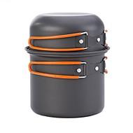 billiga Campingkök-Campingkastrull Matlagningsredskap för utomhus Bärbar Rostfritt stål Utomhus för Camping Svart