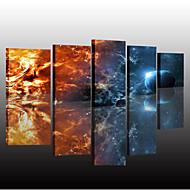 billiga Väggkonst-Kanvas set Klassisk, Fem paneler Duk Vertikal panoramautsikt Tryck väggdekor Hem-dekoration