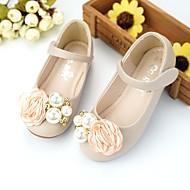 Jente sko Syntetisk Mikrofiber PU Vår Sommer Sko til blomsterpiker Komfort Flate sko Gange Perlearbeid Appliqué Magisk teip til Bryllup