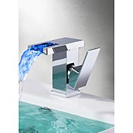 tanie Baterie prysznicowe-bateria zlewozmywakowa - zestaw chromowany wodospad pojedynczy uchwyt jeden otwór z kranów kąpielowych