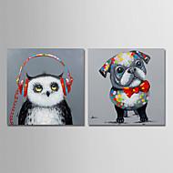 billiga Djurporträttmålningar-Hang målad oljemålning HANDMÅLAD - Djur Samtida Moderna Duk