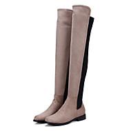 billige -Dame Sko Nubuck Skinn Vinter Høst Komfort Original Trendy støvler Støvler Flat Spisstå Lårhøye støvler til Fest/aften Svart Grå Grønn