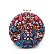 baratos Clutches & Bolsas de Noite-Mulheres Bolsas Poliéster Bolsa de Festa Detalhes em Cristal / Bordado Floral Vermelho Preto / Vinho / Azul Real