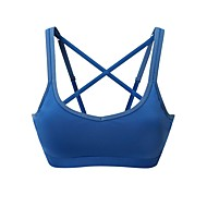 Sports Bra Padded Light Support for Running White Blue Stretchy Women's Solid Colored