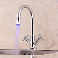 お買い得  キッチン用蛇口-コンテンポラリー センターセット LED 真鍮バルブ 二つのハンドルつの穴 クロム, 水栓
