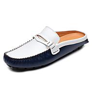 お買い得  メンズクロッグ&ミュール-男性用 靴 レザー 春 秋 モカシン 下駄とミュール のために カジュアル ブラック イエロー ブルー