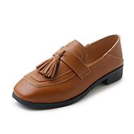 baratos Sapatos Femininos-Mulheres Couro Ecológico Verão Conforto Rasos Caminhada Salto Baixo Dedo Aberto Preto / Bege / Castanho Claro