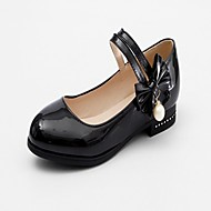 baratos Sapatilhas Femininas-Mulheres Sapatos Courino Primavera Outono Inovador Conforto Rasos Sem Salto Ponta Redonda Laço para Social Branco Preto Rosa claro