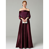 Χαμηλού Κόστους -Γραμμή Α / Πριγκίπισσα Ώμοι Έξω Μέχρι τον αστράγαλο Ελαστικό Σατέν Φόρεμα Μητέρας της Νύφης με Χάντρες / Πιασίματα με LAN TING BRIDE®