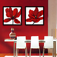 baratos Quadros com Moldura-Floral/Botânico Ilustração Arte de Parede,Plástico Material com frame For Decoração para casa Arte Emoldurada Sala de Estar Interior