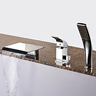 cheap Bathtub Faucets-Contemporary Roman Tub Waterfall Handshower Included Ceramic Valve Three Holes Single Handle Three Holes Chrome, Bathtub Faucet