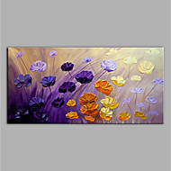 cheap Oil Paintings-Hand-Painted Abstract Floral/Botanical Horizontal, Modern Canvas Oil Painting Home Decoration One Panel