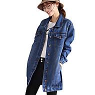 Mulheres Jaqueta jeans Diário Vintage Outono,Sólido Padrão Algodão Colarinho de Camisa Manga Comprida