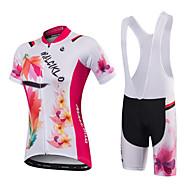 Malciklo Žene Kratkih rukava Biciklistička majica s kratkim tregericama - Crna/crvena White+Red Cvjetni / Botanički Uglađeni Bicikl