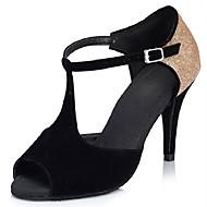 baratos Sapatilhas de Dança-Mulheres Sapatos de Dança Latina Flocagem / Glitter Sandália / Salto Salto Personalizado Personalizável Sapatos de Dança Preto e Dourado