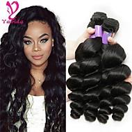 3 pakker Brasiliansk hår Løse bølger 8A Ekte hår Menneskehår Vevet Hårvever med menneskehår Hairextensions med menneskehår