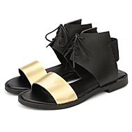 baratos Sandálias Femininas-Mulheres Sapatos Courino Verão Tira no Tornozelo Sandálias Salto Robusto Dedo Aberto para Casual Dourado Prata