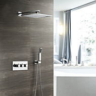 cheap Shower Faucets-Contemporary Wall Mounted Rain Shower Handshower Included Thermostatic Ceramic Valve Three Handles Three Holes Chrome, Shower Faucet