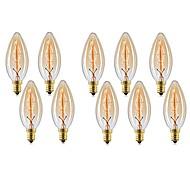 billige Glødelampe-10pcs 40W E14 C35 Varm hvit 2200-2700 K Kontor / Bedrift Mulighet for demping Dekorativ Glødende Vintage Edison lyspære 220V-240V V