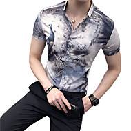חיה צווארון קלאסי רזה סגנון סיני מועדונים חולצה - בגדי ריקוד גברים דפוס אפור XL / שרוולים קצרים / קיץ
