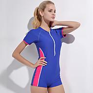 Dame badedragt Modstandsdygtig overfor klorin, Bekvem, Sport Nylon / Spandex Kortærmet Badetøj Strand Tøj Bodysuit Patchwork Svømning