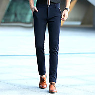 muške normalne srednje ustati mikro elastične hlače chinosa, jednostavne čvrste pamučne opruge / jeseni