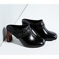 Mujer Zapatos Cuero de Napa / Cuero Primavera / Verano Confort Zuecos y pantuflas Tacón Stiletto Negro / Rojo zicPpzlpQi