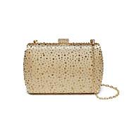 baratos Clutches & Bolsas de Noite-Mulheres Bolsas Seda Bolsa de Festa Detalhes em Cristal Champanhe / Dourado / Prata