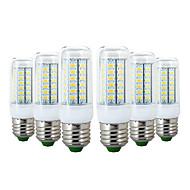 billige Kornpærer med LED-ywxlight® 6pcs e27 56led 6w 5730smd 600-700lm ledet maislys varm hvit kjølig hvit led pære lys AC 110-130v AC 220-240v
