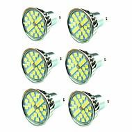 billige Spotlys med LED-6pcs 4.5W 300 lm GU10 LED-spotpærer 24 leds SMD 5050 Varm hvit 220V-240V