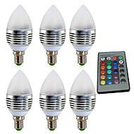billige Stearinlyslamper med LED-YWXLIGHT® 6pcs 4W 300-400 lm E14 LED-lysestakepærer 1 leds Høyeffekts-LED Mulighet for demping Dekorativ Fjernstyrt RGB