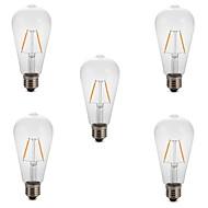 hesapli -5pcs 2W 180 lm E26/E27 LED Filaman Ampuller ST64 2 led COB Dekorotif Sıcak Beyaz Serin Beyaz 220V-240V