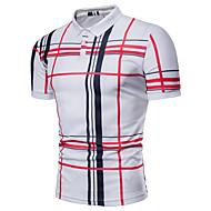 남성용 체크무늬 셔츠 카라 플러스 사이즈 프린트 - Polo, 베이직 / 짧은 소매