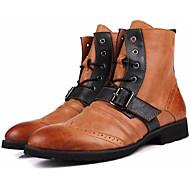 baratos Sapatos Masculinos-Homens Coturnos Pele Napa / Pele Outono / Inverno Conforto Botas Botas Cano Médio Preto / Khaki