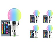 billige Globepærer med LED-5pcs 5W 400lm E14 E26 / E27 LED-globepærer 5 LED perler SMD Mulighet for demping Dekorativ Fjernstyrt RGB 85-265V