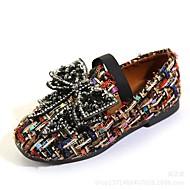 お買い得  フラワーガールシューズ-女の子 靴 繊維 春夏 コンフォートシューズ / フラワーガールシューズ フラット ラインストーン / リボン / コンビ のために ホワイト / ブラック