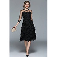 Casual Dress A-Line Jewel Neck Tea Length Tulle Dress with Feathers / Fur by LAN TING Express