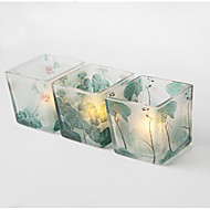 cheap Candles & Candleholders-Simple Style Scenery Glass Candle Holders 3pcs, Candle / Candle Holder